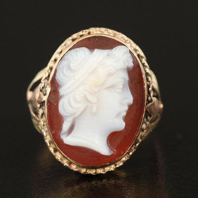 Vintage 10K Tri-Color Gold Oval Agate Cameo Ring