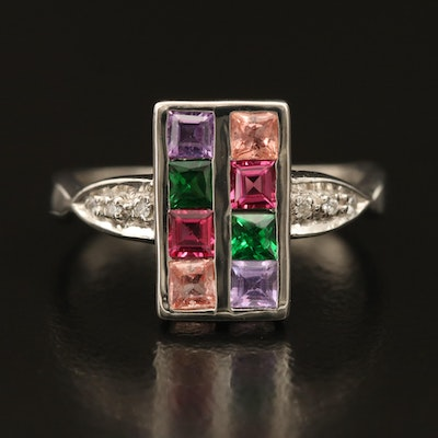 Sterling Gemstone Ring with Tourmaline and Sapphire