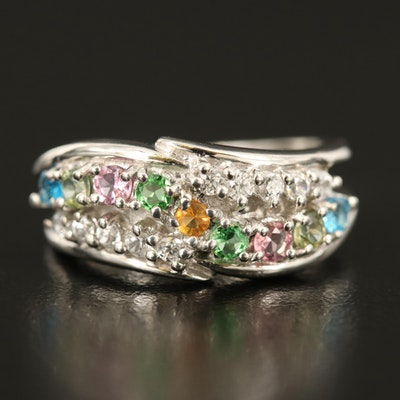 Sterling Fire Opal, Tourmaline and Apatite Open Shouldered Ring