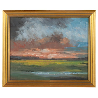 Sulmaz H. Radvand Oil Painting of Storm Clouds at Sunset, 21st Century