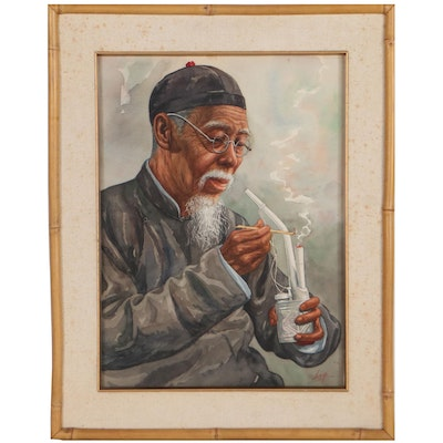 Kam Cheung Ling Watercolor Portrait of Old Man, Late 20th Century