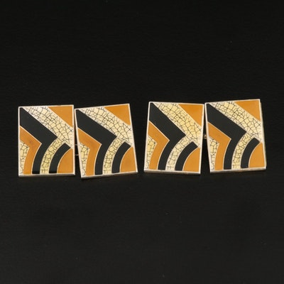 British Modern Sterling and Enamel Cufflinks