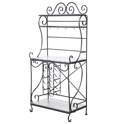 French Style Black-Painted and Scrolled Metal Baker's Rack