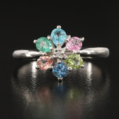 Sterling Silver Sapphire, Peridot and White Zircon Flower Ring