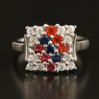 Sterling Opal, Sapphire and Zircon Ring