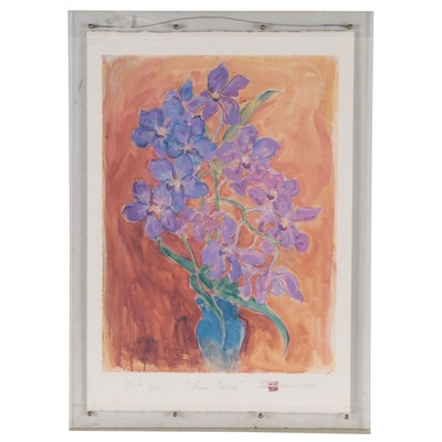 """Theo Meier Offset Lithograph """"Famui Orchids,"""" Late 20th Century"""