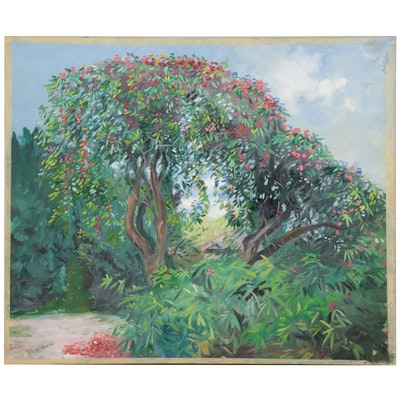 """Charles Merrill Mount Oil Painting """"The Rhododendron Tree at Bel Air,"""" 1961"""