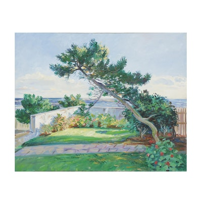 """Charles Merrill Mount Oil Painting """"The Front Garden: Neponsit,"""" 1974"""