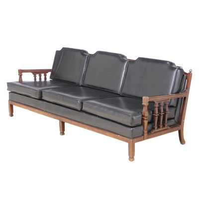 Walnut and Black Vinyl Sofa, Mid to Late 20th Century