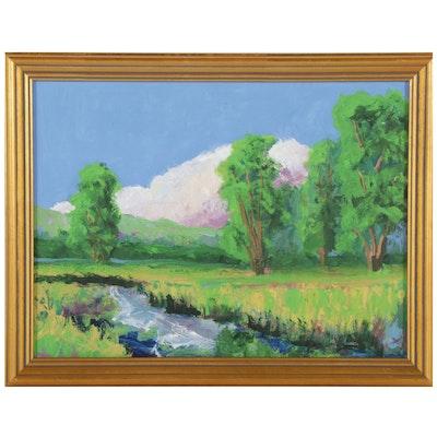 Kenneth R. Burnside Landscape Oil Painting of Stream, 21st Century