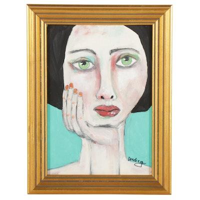 "Deborah McEvoy Acrylic Painting ""Classy and Fabulous,"" 21st Century"