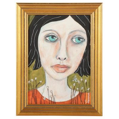 "Deborah McEvoy Acrylic Painting ""Gazing at Nature,"" 21st Century"