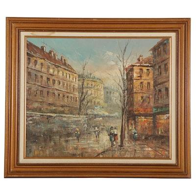 P. G. Tiele Parisian City Street Oil Painting, Late 20th Century
