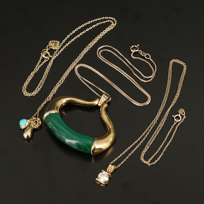 Pendant Necklaces Featuring Sterling, Malachite and Garnet