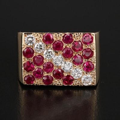 14K Diamond and Ruby Rectangular Ring
