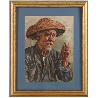 """Kam Cheung Ling Watercolor Painting """"Hakka Chinese Fishermen,"""" Late 20th Century"""