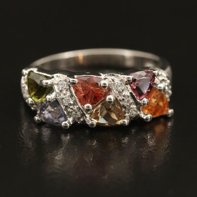 Sterling Gemstone Ring with Tourmaline and Tanzanite