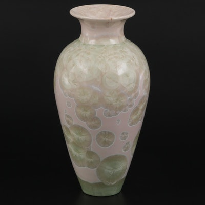 Crystalline Glazed Ceramic Vase, 1985