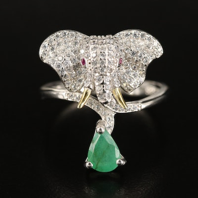 Sterling Emerald, Cubic Zirconia and Ruby Elephant Ring
