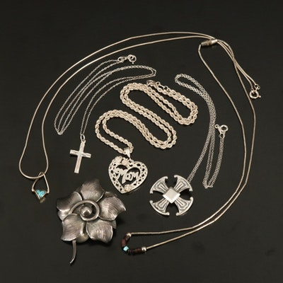 Sterling Necklaces and Danecraft Flower Brooch with Maltese Cross