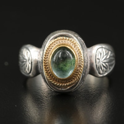 Konstantino Sterling Prasiolite Ring with 22K Accents