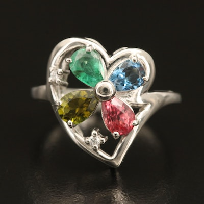 Sterling Gemstone Quatrefoil Heart Ring with Tourmaline and Emerald