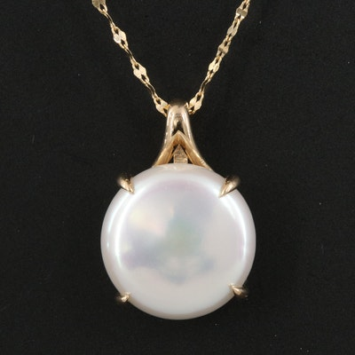 14K Coin Pearl Pendant Necklace