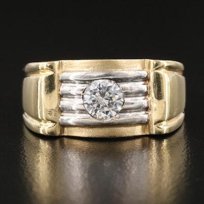 Vintage Bi-Color 14K Cubic Zirconia Solitaire Ring