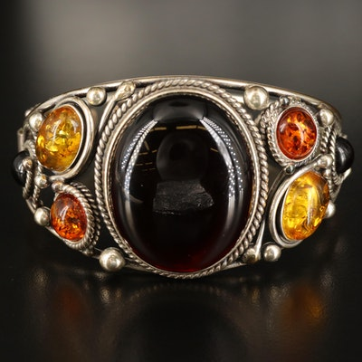 Sterling Amber and Copal Hinged Bracelet