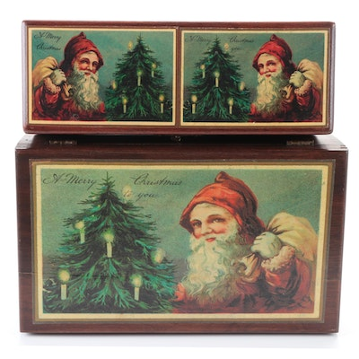 Decorative Christmas Motif Wooden Boxes and Children's Blocks