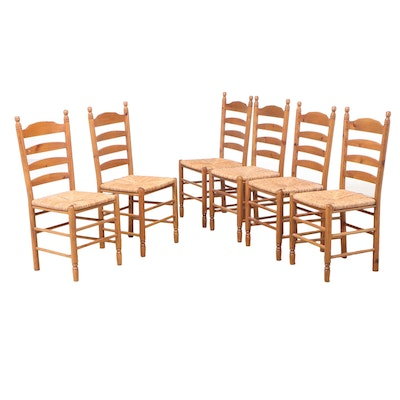 Six American Primitive Style Pine Ladderback Side Chairs