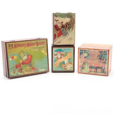 Decorative Christmas Motif Decorative Boxes, Early to Mid-20th Century