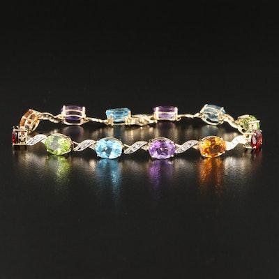 Amethyst, Citrine, Topaz and Diamond Bracelet