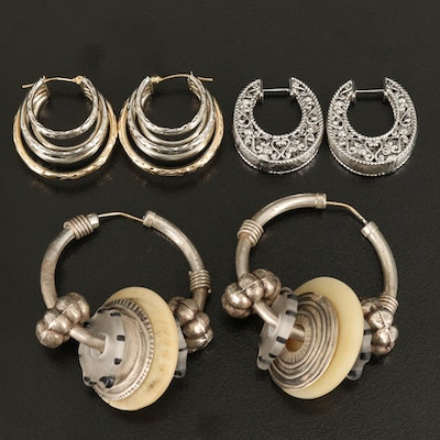 Sterling Hoop Earrings with 14K Accents