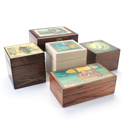 Wooden Christmas Motif Boxes, Early to Mid-20th Century