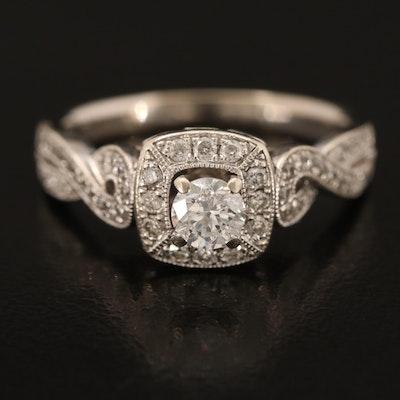 14K 0.45 CTW Diamond Scrollwork Ring
