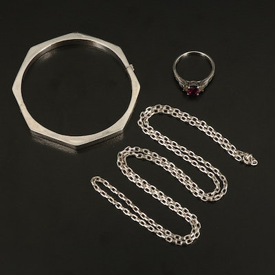 Sterling Rhodolite Garnet and Topaz Ring with Endless Necklace and Hinged Bangle
