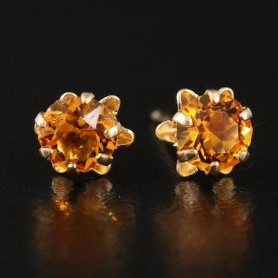14K Glass Buttercup Stud Earrings
