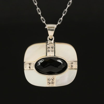 Sterling Reversible Turquoise, Black Onyx and Mother of Pearl Pendant Necklace