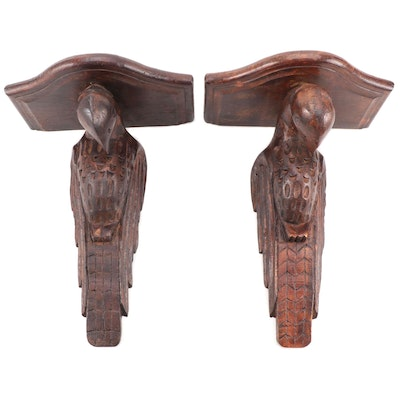 American Eagle Form Wooden Corbel Shelves, Mid 20th-Century