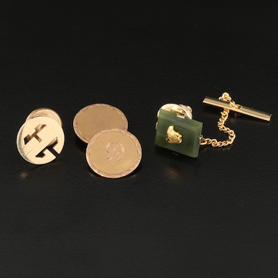 Vintage 10K and 14K Pins and Cufflink with Nephrite
