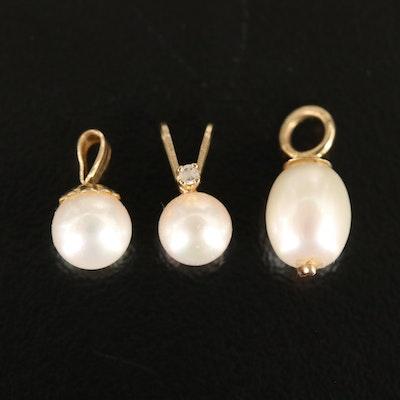 14K Pearl Pendants Including Diamond Accent