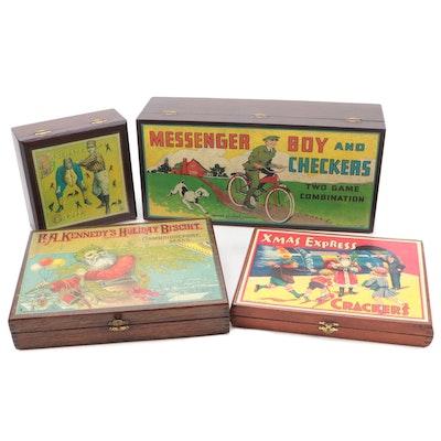 Decorative Baseball and Christmas Motif Wooden Boxes