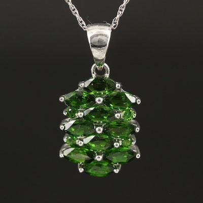 Sterling Diopside Cluster Pendant Necklace