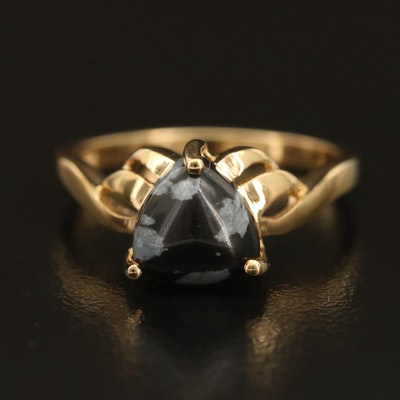 Sterling Snowflake Obsidian Ring