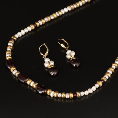 Rhodolite Garnet and Pearl Necklace and Earring Set