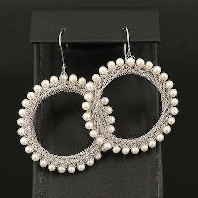 Sterling Pearl Chain Hoop Drop Earrings