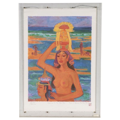 """Offset Lithograph After Theo Meier """"Offering to the Sea Gods,"""" Late 20th Century"""