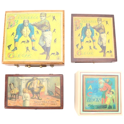 Wooden Christmas and Baseball Motif Decorative Boxes and Children's Blocks