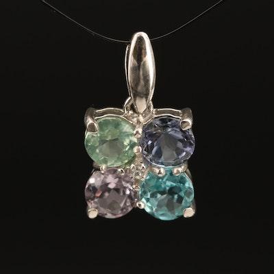 Sterling Pendant Including Kyanite, Iolite and Amethyst